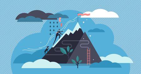 Ilustración de vector de perseverancia. Concepto de personas de paciencia motivacional diminuta plana. Desafíe a nunca darse por vencido por el objetivo, la meta y el crecimiento. Visualización de personajes abstractos de creencias, esfuerzos y ambiciones.