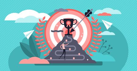 Achievement vector illustration. Flat tiny success award persons concept. Business growth and finance development strategy. Work promotion process and victory celebration. Successful businessman path. Stock Illustratie