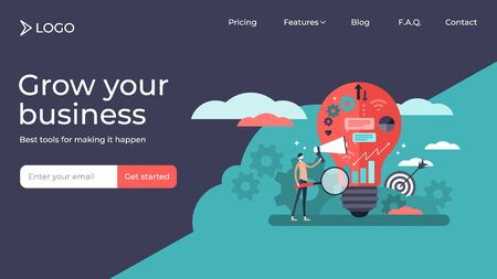 Marketing flat tiny persons vector illustration landing page template design. Business strategy, improving company customer relationships. Generating profit, strong loyalty and recognition. Ilustrace