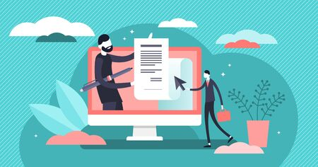 Electronic contract vector illustration. Flat tiny digital signature persons concept. Abstract online agreement sign visualization. Modern business system with secure distance deal document transfer. Ilustração