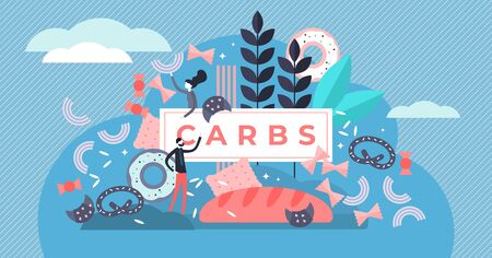 Kohlenhydrate-Vektor-Illustration. Flaches kleines Zucker- und Weizennahrungsmittelkonzept. Ungesunde Ernährung mit hoher Energie, Cholesterin und Glukose. Leckere und leckere Diät zur Gewichtszunahme mit Snacks und Junk.