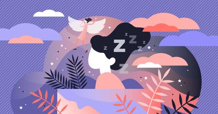Lucid dreaming vector illustration. Flat tiny sleep control persons concept. Abstract night alternative REM state. Supernatural experience when soul left body. Physiological wakefulness condition.