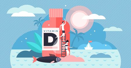 Vitamin D vector illustration. Flat tiny source collection persons concept. Healthy fatty fish, medicine and sunbathing usage for deficiency reduction. Organic liver oil supplement and skin synthesis.