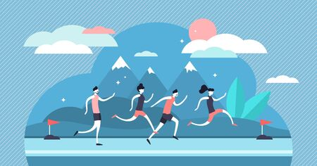 Running vector illustration. Flat tiny sport exercise persons crowd concept. healthy lifestyle with active outdoor marathon or sprint movement. Abstract flatland workout and fitness run group action.