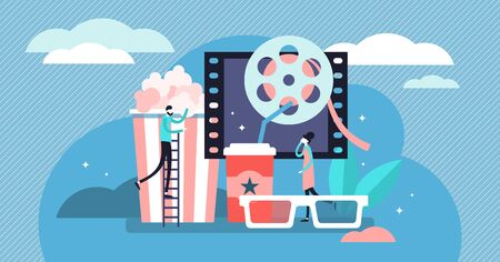 Movies vector illustration. Flat tiny media film theater persons concept. Abstract popcorn, 3D glasses, softs and cinema visualization. Leisure, relaxation and entertainment process with television.