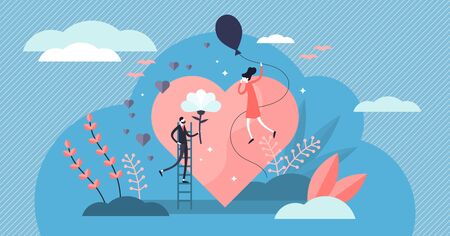 Love vector illustration. Flat tiny romance feelings symbols person concept. Abstract flying happiness, marriage and couple relationship visualization. Strong positive and cheesy bonding emotions. Stock Illustratie