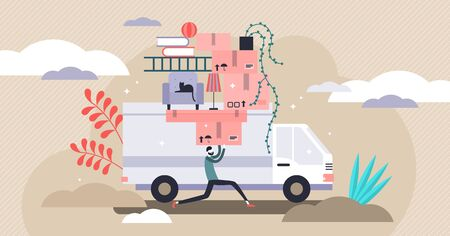 Moving vector illustration. Flat tiny new home relocation persons concept. Vehicle with stack of personal boxes and packages for fast transportation. Van life lifestyle and belongings shipping process