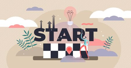 Start vector illustration. Flat tiny startup idea beginning persons concept. Abstract business or innovation development. Growth, up direction and progress visualization and company progress strategy.