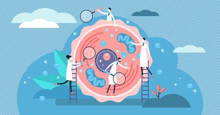 Ilustración de vector de célula humana. Concepto de personas de microbiología estilizada diminuta plana. Los científicos examinan e investigan la estructura de los bloques de vida. Laboratorio de unidad básica estructural, funcional y biológica.