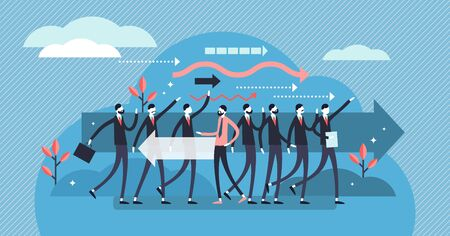 Leave vector illustration. Flat tiny opposite direction way persons concept. Choice of business, crowd or group leaving. Decision to escape and go free your own way. Ambitious movement visualization. Иллюстрация