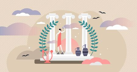 Roman culture vector illustration. Tiny historical tourism persons concept. Classical antique architecture with sculpture, stone pillars and decorative elements. Vintage old heritage art design trip.