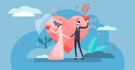Wedding vector illustration. Flat tiny couple marriage day persons concept. Visualization for engagement, ceremony and romance celebration blog topic. Symbolic wife and husband love promise process. Иллюстрация