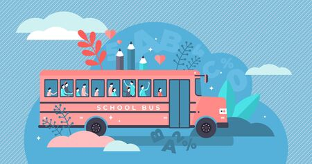 School bus vector illustration. Flat tiny pupil transport persons concept. Classical full student van on the way to school, college or elementary. Public regular road service for children street drive