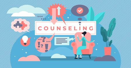 Counseling vector illustration. Flat tiny psychological specialty persons concept. Supervision career development training with questions and answers. Psychotherapy mental stress treatment solution. Ilustração