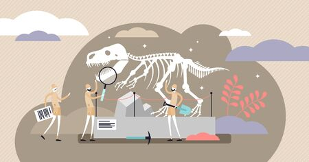 Dinosaurs vector illustration. Flat tiny jurassic fossils persons concept. Extinct predators skeleton research and educational exploration with archeology paleontologists method. Huge museum exhibit.