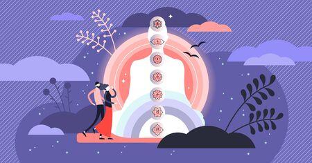 Seven chakras vector illustration. Flat tiny energy center person concept. Spiritual meditation yoga pose with aura and esoteric point visualization. Alternative medicine treatment and harmony balance