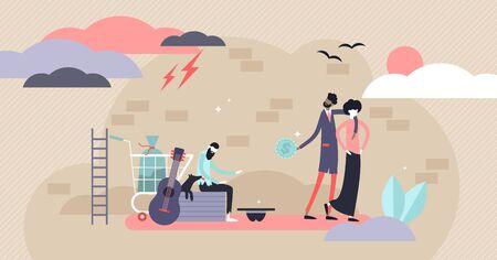 Ilustración de vector de personas sin hogar. Concepto de personas de brecha de finanzas pobres diminutas planas. Sociedad urbana sucia y raída con problemas financieros y económicos y crisis. El hambre y los desempleados ayudan a apoyar la vida.