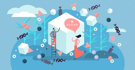 Sugar vector illustration. Flat tiny sweet taste product person concept. Delicious dessert ingredient for cakes, chocolate, snacks and candy. Unhealthy nutrition diet with calories and refined sucrose Ilustração