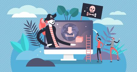 Online piracy vector illustration. Flat tiny illegal hackers persons concept. Internet thief, crime and fraud symbolic visualization. Cyberspace crime with file download and movies sharing.