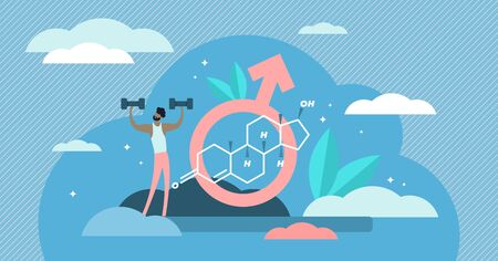 Testosterone vector illustration. Flat tiny male sex hormone persons concept. Anabolic steroid formula with strong bodybuilder visualization. Muscle growth supplement doping for unhealthy athletes.