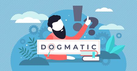 Dogmatic vector illustration. Flat tiny absolute true faith persons concept. Personality mindset with word confidence and steadfast opinion. Authority dominance and catholic church confidence behavior