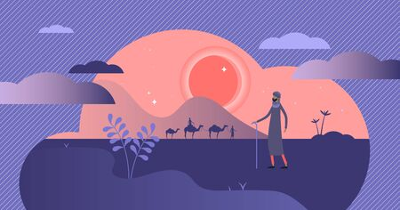 Nomads vector illustration. Flat tiny persons without habitation concept. East and arabic culture tradition to travel with caravan in desert or steppe. Ethnic native group without fixed home location.