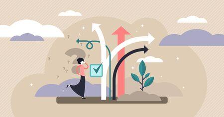 Ilustración de vector de toma de decisiones. Concepto de persona de opciones de elección diminuta plana. Visualización del proceso de decisiones de carrera, vida y preguntas. Diferente confusión de dirección profesional y rompecabezas de encrucijada. Ilustración de vector
