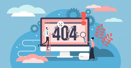 Error 404 vector illustration. Flat tiny website mistake alert persons concept. Page not fount fail message as pop up notification. Oops broken network failure and problem with sorry attention signal. 일러스트