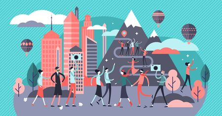 Overtourism vector illustration. Flat tiny tourist crowd problem persons concept. Group with travelers on popular famous urban or nature destination object. Holiday and vacation lifestyle consequences 일러스트