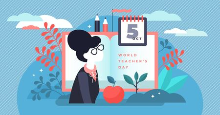Teachers day vector illustration. Flat tiny world educators holiday persons concept. October academic occupation celebration time. University and school profession symbolic appreciation greeting time. Çizim