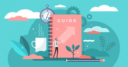Guide vector illustration. Flat tiny technical FAQ information persons concept. Abstract search and find for information guidance and knowledge. Manual support and instruction presentation brochure.
