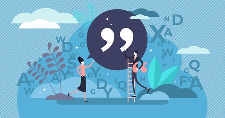 Quote vector illustration. Flat tiny punctuation quotation mark persons concept. Abstract inverted pair commas sign in writing system for direct speech or phrase. Symbolic citation text language item.