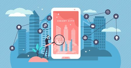 Smart city vector illustration. Flat tiny digital ergonomic urban persons concept. Wireless 5G communication possibilities using gadget network in cityscape. Intelligent GPS innovation environment. 向量圖像