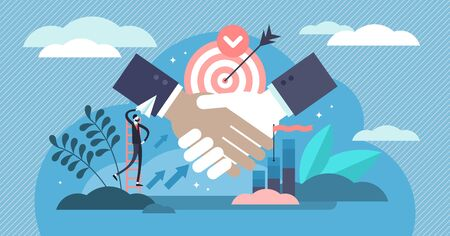 Partnership vector illustration. Flat tiny business contract persons concept. Abstract company agreement and successful contract deal bonding. Professional cooperation solution and finance friendship.