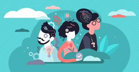 Behavior vector illustration. Flat tiny feelings expression persons concept. Various facial emotion and gestures communication styles collection. Personality type and psychological mindset difference. Stok Fotoğraf - 139354830