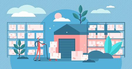 Warehouse vector illustration. Flat tiny cargo package house persons concept. Shipping boxes in logistics distribution center. Export service worker in goods storehouse. Storekeeper occupation process