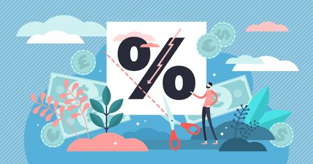 Rate cut vector illustration. Flat tiny price percentage reduction persons concept. Reduce federal funds target. Financial and economical term abstract visualization. Money banking nominal recession.