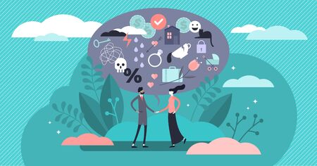 Relationship vector illustration. Flat tiny various feelings person concept. Abstract mutual emotions and link type between friends, siblings or lovers. Psychological connection diversity collection. Illusztráció