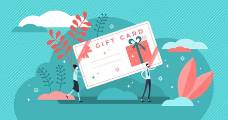 Gift card vector illustration. Flat tiny prepaid presents for celebration. Birthday or christmas party congratulations and surprise element. Couple holding shopping method poster. Postcard with money.