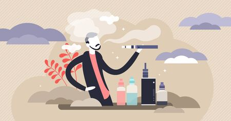 Vaping vector illustration. Flat tiny alternative smoking device person concept. Analog nicotine intake with vape cigarette as modern dangerous addiction. Toxic unhealthy habit with death consequences
