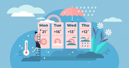 Weather forecasting vector illustration. Flat tiny outside predictions persons concept. Meteorology science application and technology for temperature, humidity, precipitation and wind information.