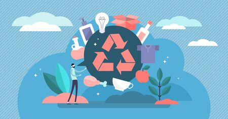 Recycle vector illustration. Flat tiny products second life person concept. Reuse plastic, paper and glass rubbish, waste and trash to save earth energy. Organic alternative resources saving lifestyle Illusztráció