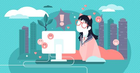 Otaku vector illustration. Flat tiny anime, emoji or manga hobby person concept. Obsessive asian comic hobby character with naive nerd or geek costume. Addictive social subculture with common interest