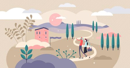 Countryside vector illustration. Flat tiny rural ranch area person concept. Classical cottage outside town or city. House property with land and grass. Outdoor environment for healthy and calm holiday
