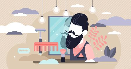 Barbershop vector illustration. Flat tiny beard shave saloon persons concept. Mustache and hair style occupation. Professional hairdresser for real man and gentleman. Trendy vintage hipster business.