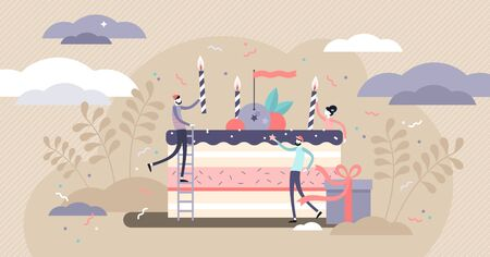 Birthday vector illustration. Flat tiny party event organizing persons concept. Decoration, venue and cake management business for festive celebration. Presents and candles as traditional fun symbols.