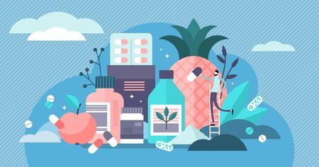 Supplements vector illustration. Flat tiny food diet capsule persons concept. Fitness and bodybuilding prescription medicament as alternative to healthy eating. Vitamins, minerals and protein pills. Illusztráció