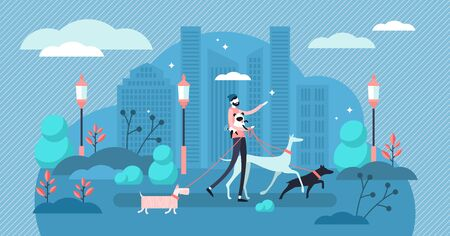 Dog walking vector illustration. Flat tiny obsession pet care exercise person concept. Urban outdoor activity for puppy and owner health. Human best friend companionship lifestyle. Urban scene in park