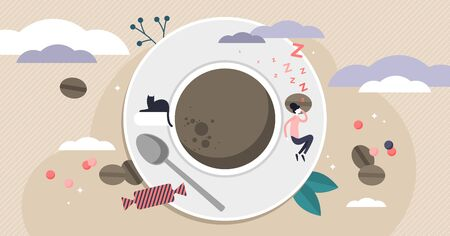 Monday vector illustration. Flat tiny sleepy worker persons concept. New week day routine to hard to get up. Coffee energy booster for employee motivation and sleep management. Daily morning problem.
