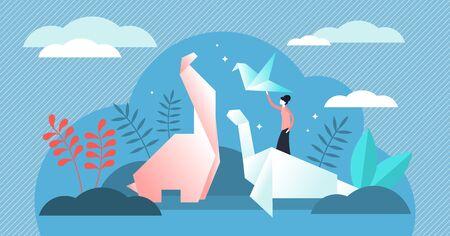 Ilustración de vector de origami. Concepto de persona de método de plegado de papel diminuto plano. Forma de arte de la cultura y la tradición japonesa con hojas cuadradas planas y técnicas de escultura. Modelos artesanales de grúas sin cortar